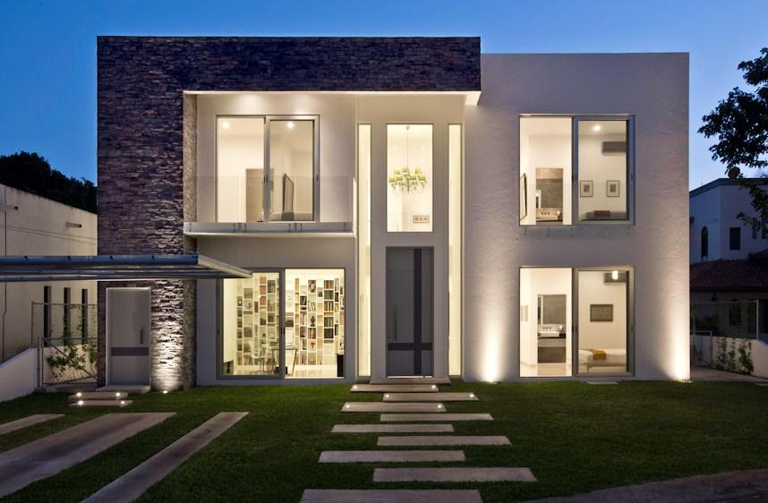 29 im genes de fachadas de casas modernas y minimalistas for Casa minimalista 80 metros